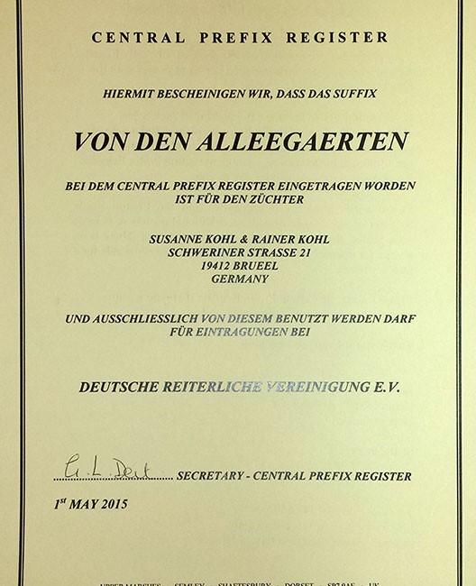 """""""von den Alleegärten"""" nun offiziell eingetragen"""